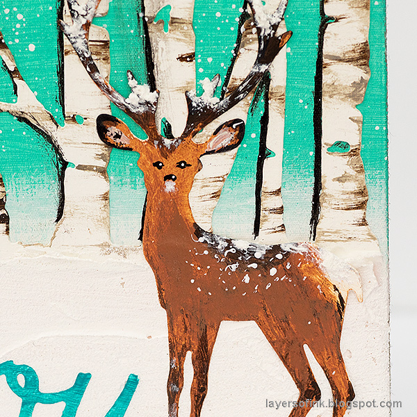 Layers of ink - Birch Forest December Daily Tutorial by Anna-Karin Evaldsson. Sizzix Tim Holtz deer.