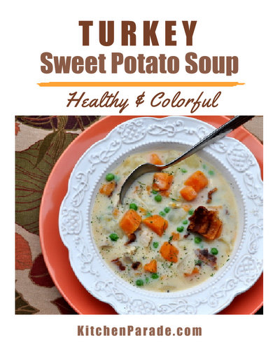 Turkey Sweet Potato Soup ♥ KitchenParade.com, one of my oldest recipes, a healthy colorful soup made with sweet potatoes and leftover turkey.