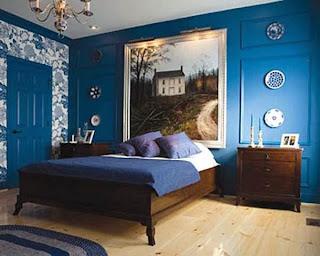 dormitorio color azul marrón