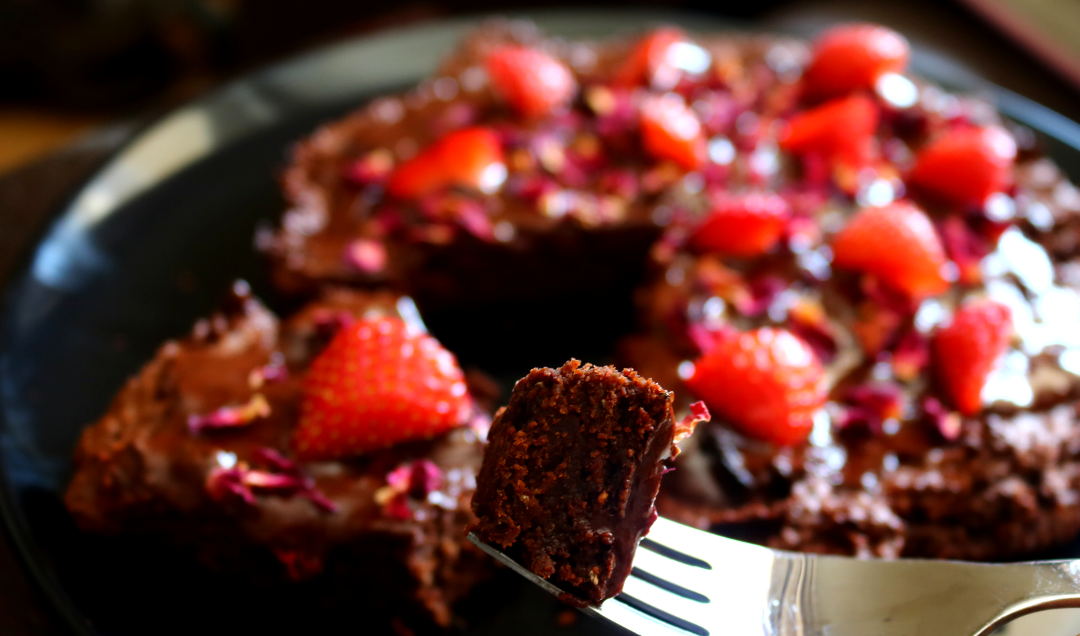 Summer Chocolate Ganache Cake with Strawberries & Rose (Vegan/Dairy-Free recipe)