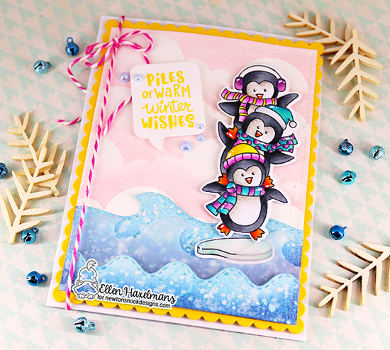 Penguin Card by Ellen Haxelmans | Penguin Pile Stamp Set, Sea Borders Die Set, Speech Bubbles Die Set and Clouds Stencil by Newton's Nook Designs #newtonsnook #handmade