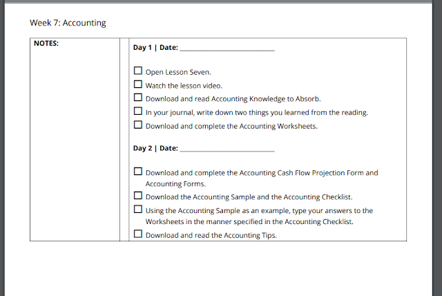 week 7 accounting lesson plan from SchoolhouseTeachers.com