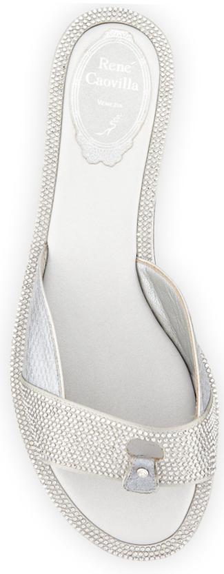 Rene Caovilla Strass-Embellished Sandal Slide, Gray