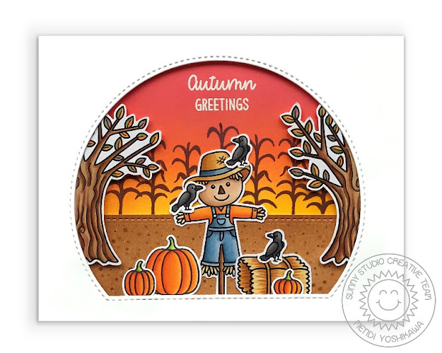 Sunny Studio Scarecrow with Corn Stalks & Pumpkins Handmade Card (using Farm Fresh, Happy Harvest Stamps & Stitched Semi-Circle Dies)