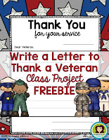 Write a Letter to Thank a Veteran Class Project FREEBIE