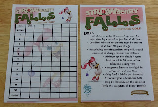 Scorecard from the Strawberry Falls Adventure Golf course at The Cheshire Ice Cream Farm