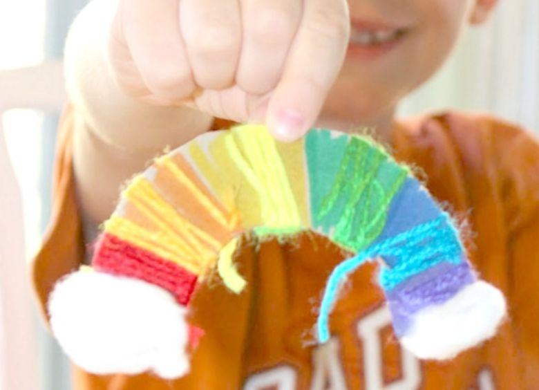 St Patricks day crafts for preschoolers - yarn wrap rainbow craft