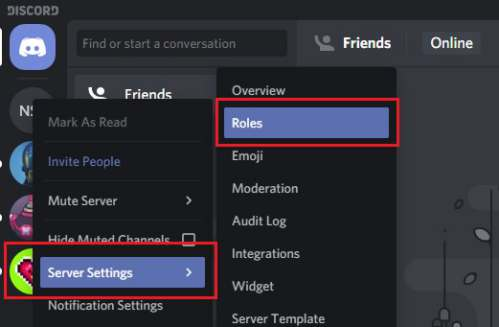 menu roles di server settings Discord