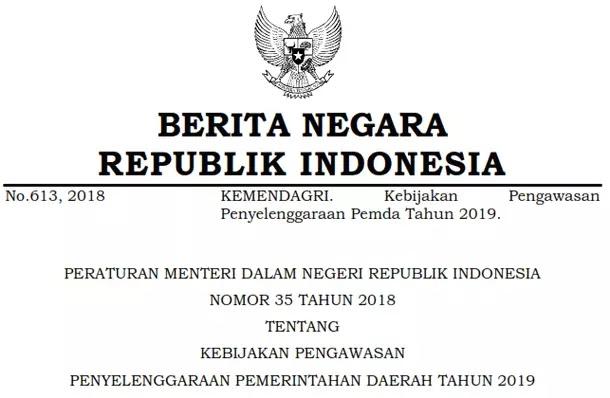 Permendagri Nomor 35 Tahun 2018 Tentang Kebijakan Pengawasan Penyelenggaraan Pemerintah Daerah Tahun 2019