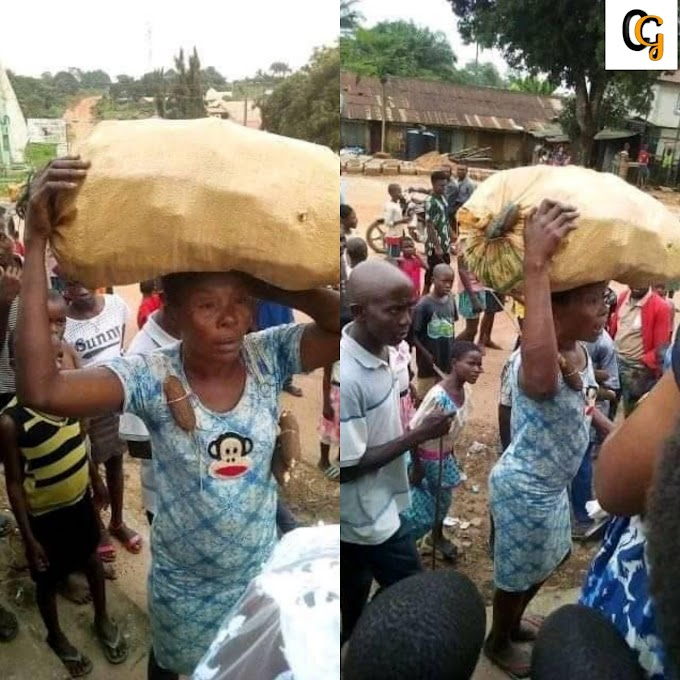 WOMAN GOT DISGRACE AFTER BEING CAUGHT STEALING CASSAVA FROM ANOTHER PERSON FARM IN ABIA STATE,(PHOTOS).