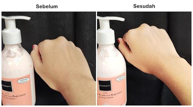 Review hasil pemakaian body lotion Jolly Scarlett