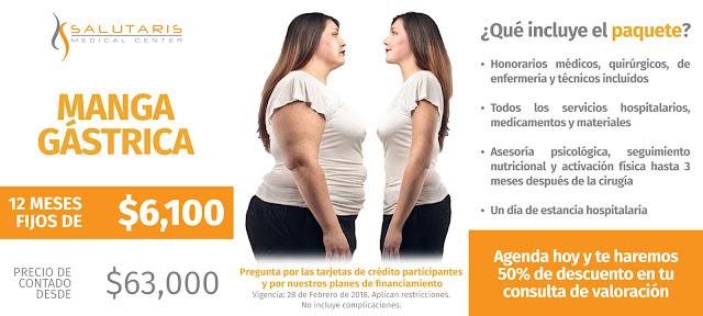 Paquete de Cirugia Manga Gastrico Obesidad Sobrepeso Precio Guadalajara Mexico