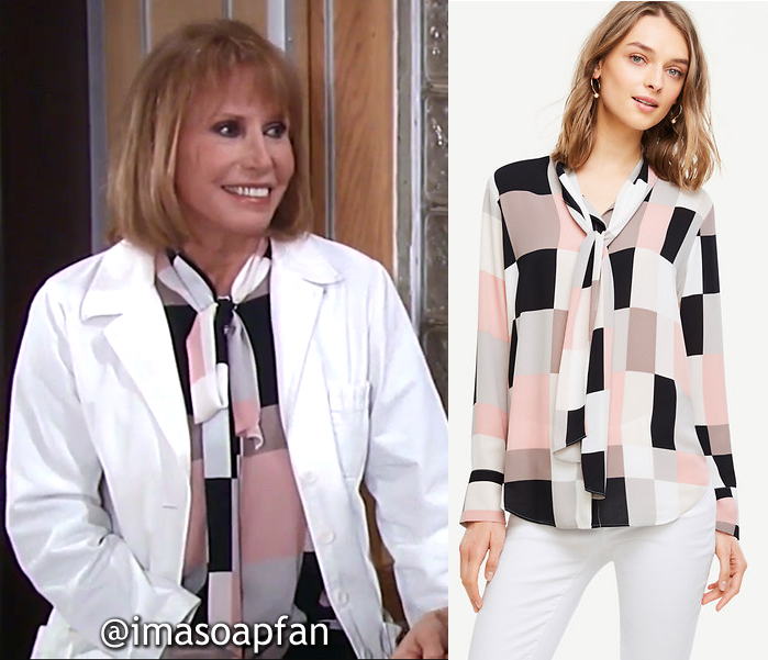 Monica Quartermaine, Leslie Charleson, Colorblock Tie-Neck Blouse, Ann Taylor, General Hospital, GH