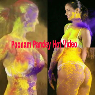 Poonam Pandey Hot Holi Video bikini