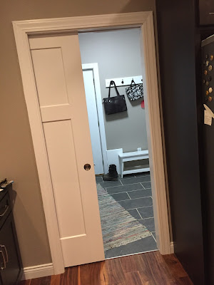 #millsnewhouse, mud room, laundry room, pocket door