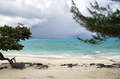 Overcast dark clouds over the sea