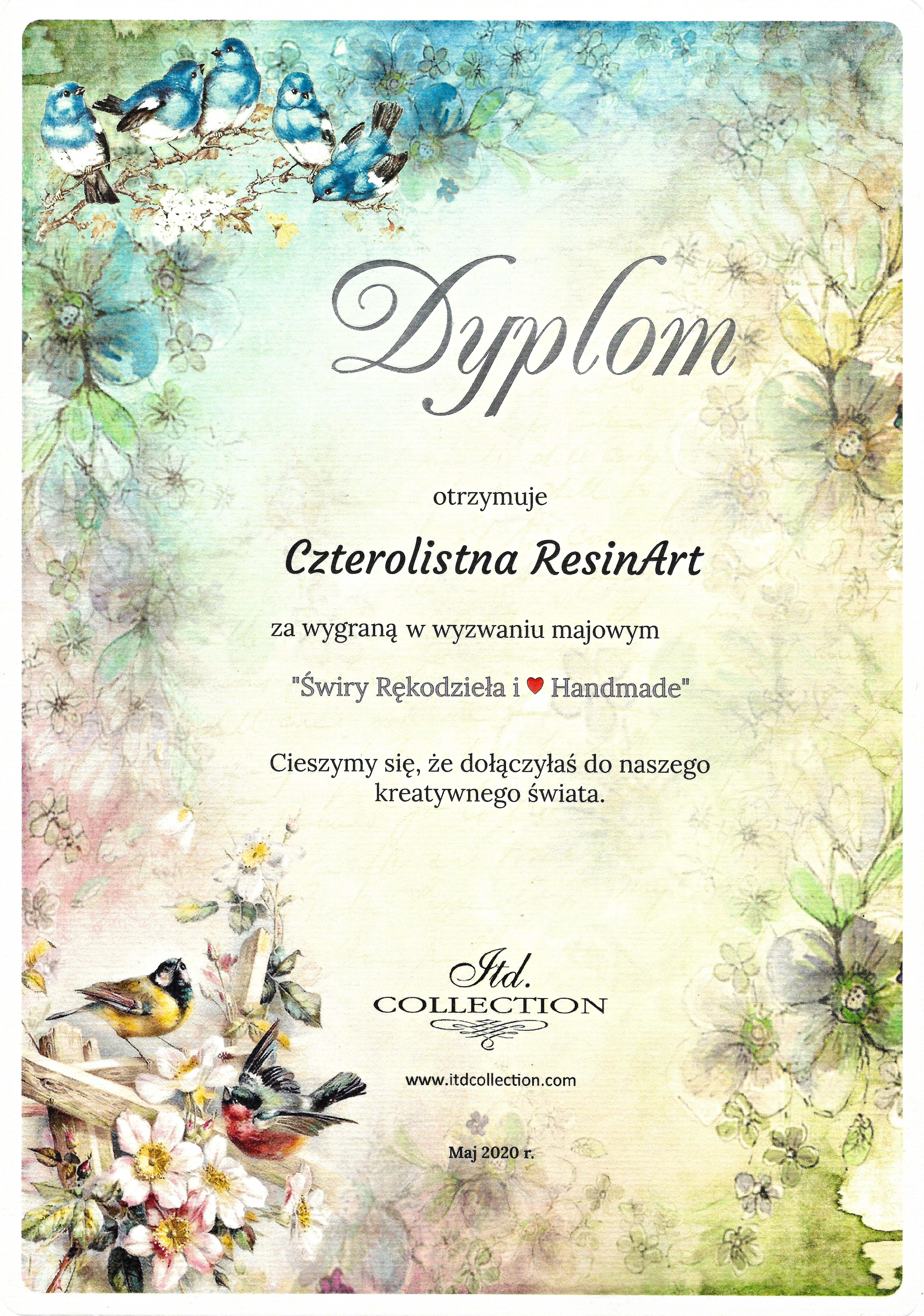 Dyplom od ITD COLLECTION