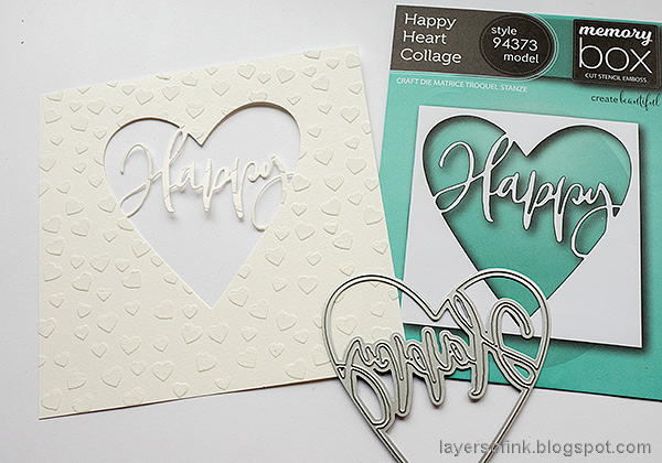 Layers of ink - Panda Shaker Card Tutorial by Anna-Karin Evaldsson. Die cut the heart window.