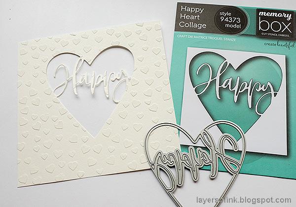Layers of ink - Panda Shaker Card Tutorial by Anna-Karin Evaldsson. Die cut the heart window.