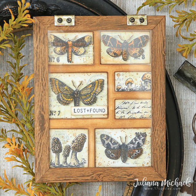 Moth Study Curio Card by Juliana Michaels featuring Tim Holtz Stampers Anonymous Moth Study and Tiny Toadstools