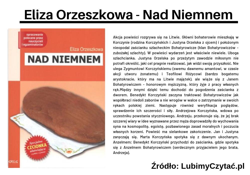 Eliza Orzeszkowa - Nad Niemnem, Topki, Marzenie Literackie