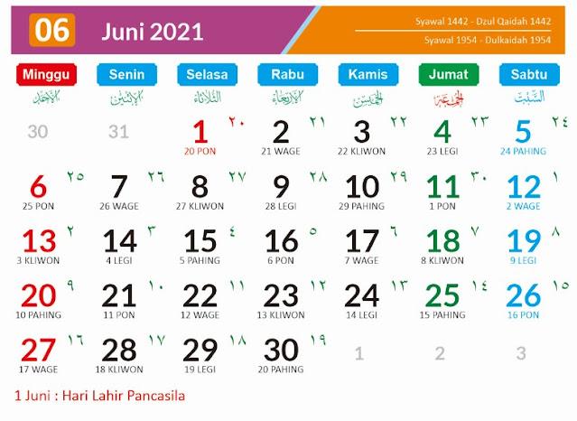 Kalender Bulan Juni 2021 dan Hari Peringatannya