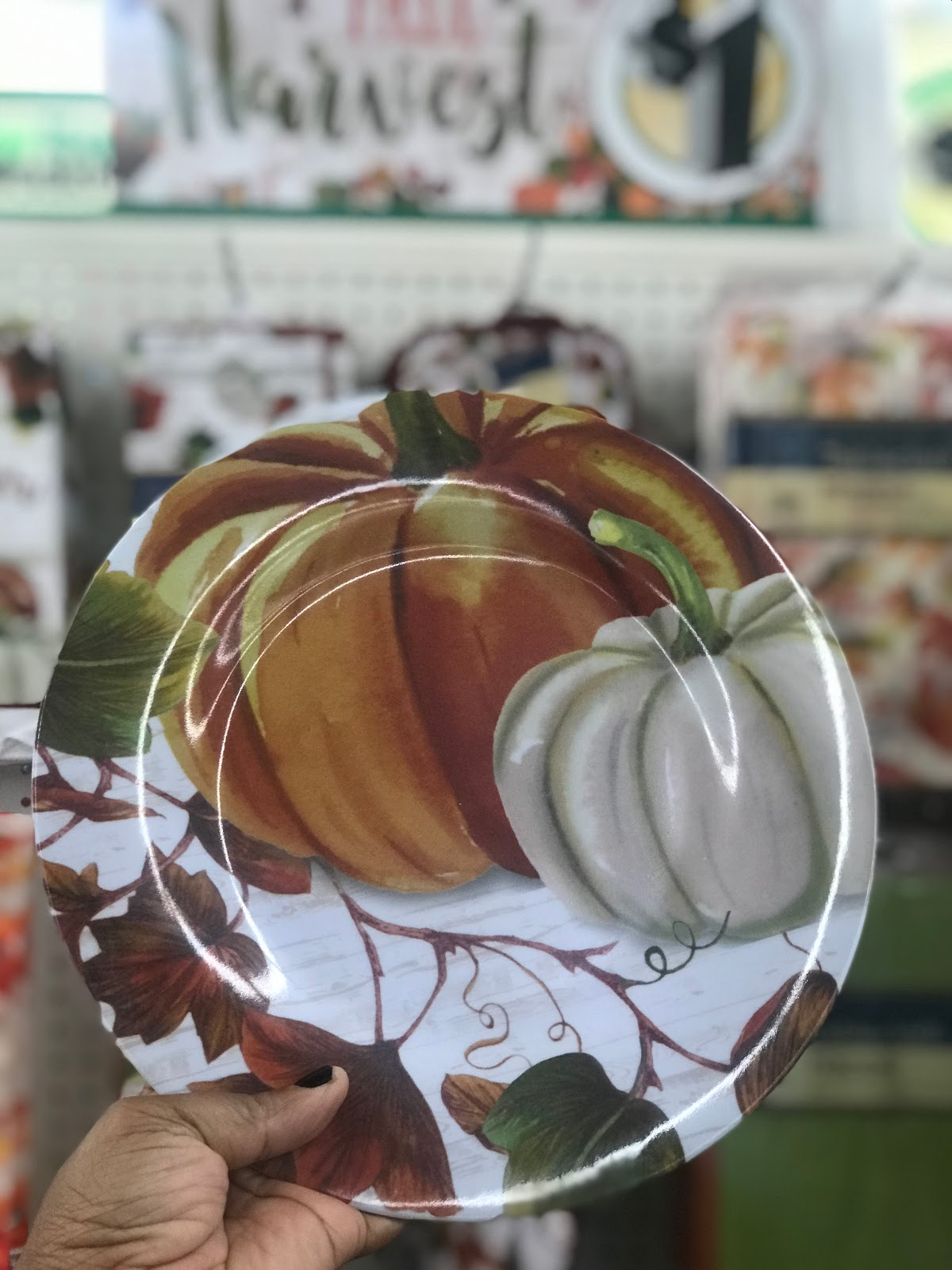 Image: One dollar Fall plate. Picture taken by Tangie Bell to use in Haul on Bits and Babbles Blog