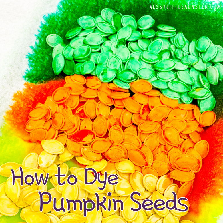 Dyed pumpkin seed crafts for kids