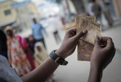 Somali shilling notes.