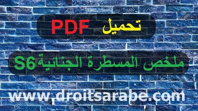تحميل PDF : ملخص المسطرة الجنائية السداسي السادس S6