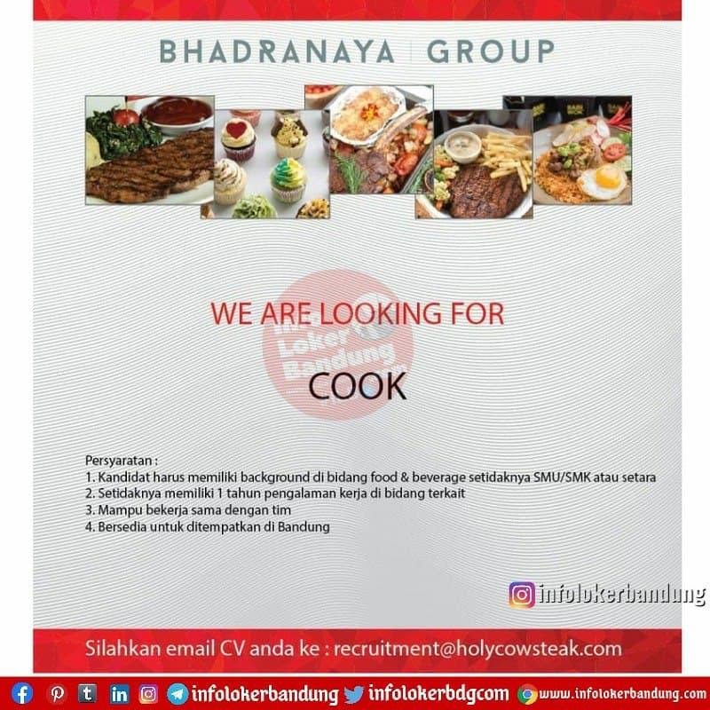 Lowongan Kerja Cook Bhadranaya Gorup ( Holy Cow Steak ) Bandung Juni 2021