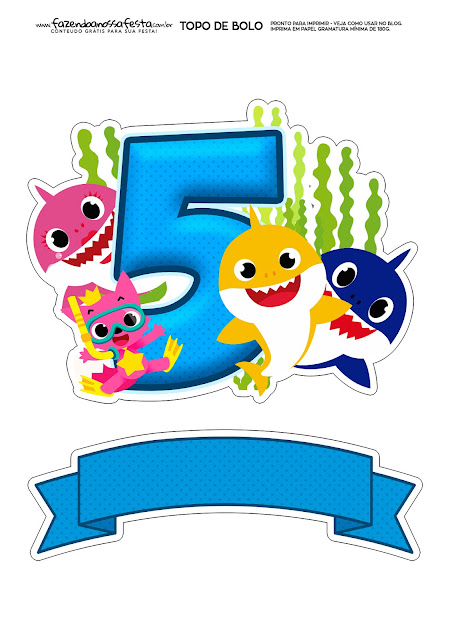 Baby Shark Party with Number 5: Free Printable Cake Toppers.
