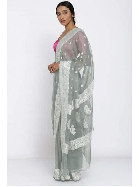 Pure Georgette Chiffon khaddi silver buti gray colour sarees