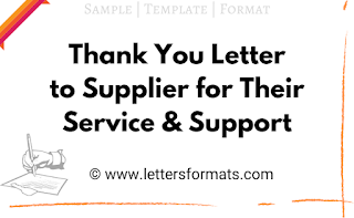 Sample Thank You Letter to Supplier for Their Service & Support
