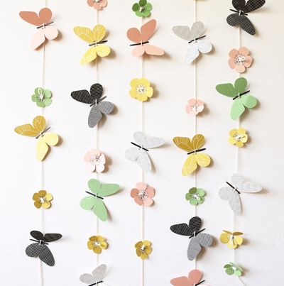 paper design, paper butterflies, paper flowers, garland, backdrop