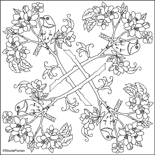 Nicole's Free Coloring Pages: APPLE BLOSSOM MANDALA