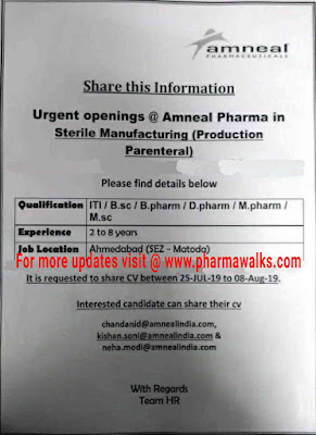 Urgent Job Openings @ Amneal Pharmaceuticals