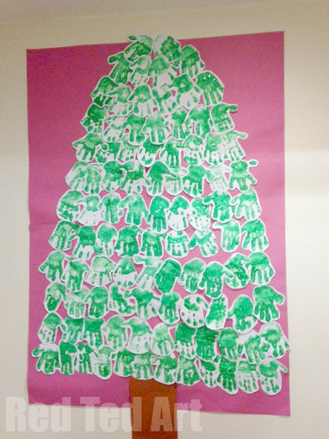 classroom handprint Christmas tree craft