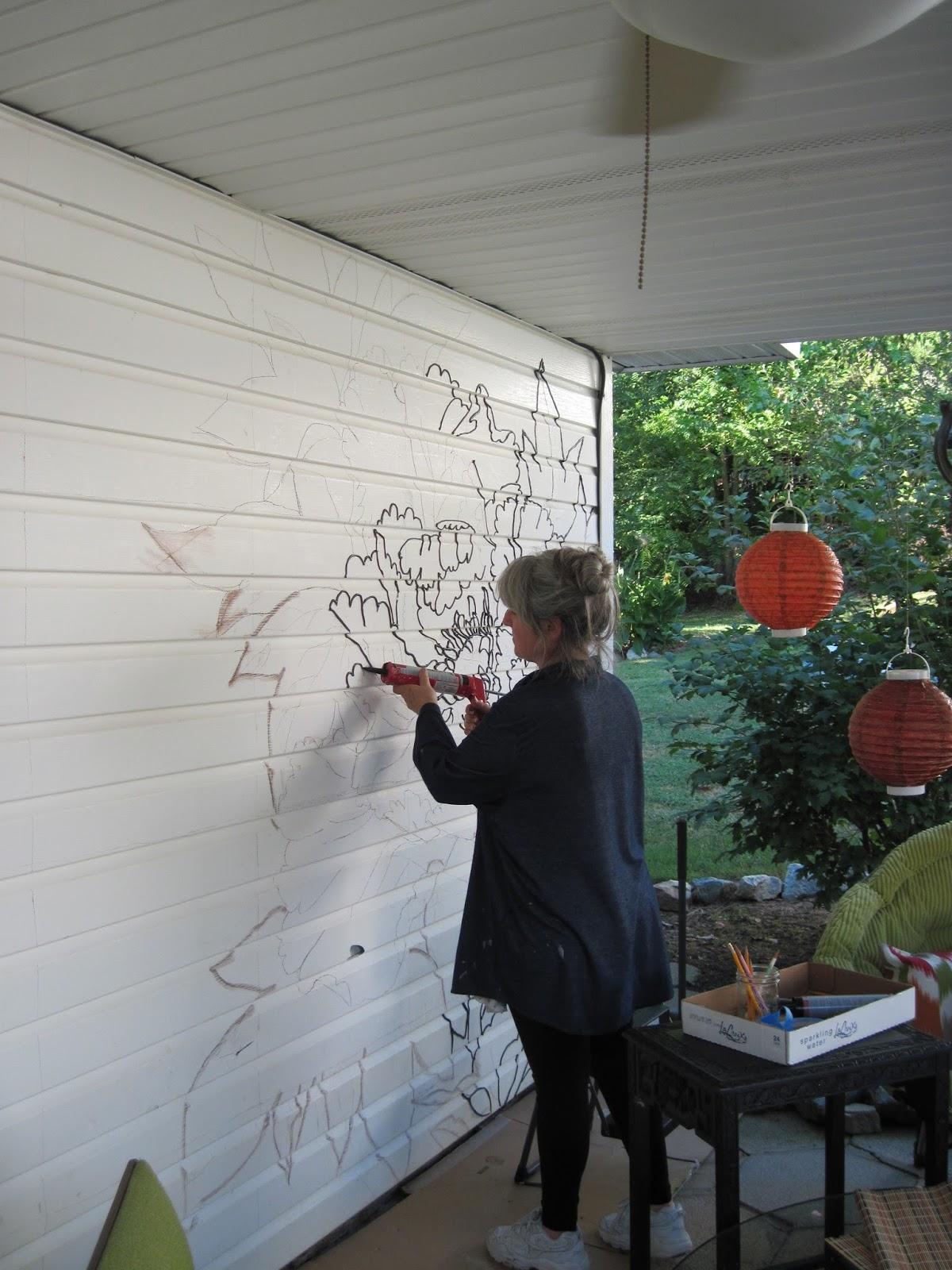Painted Patio Wall Transformation Our New Quot Secret Garden Quot