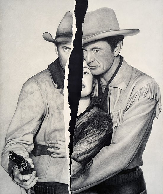 drawing Karl Haendel  No Title (Jimmy Stewart/Ruth Roman/Gary Cooper), 2017