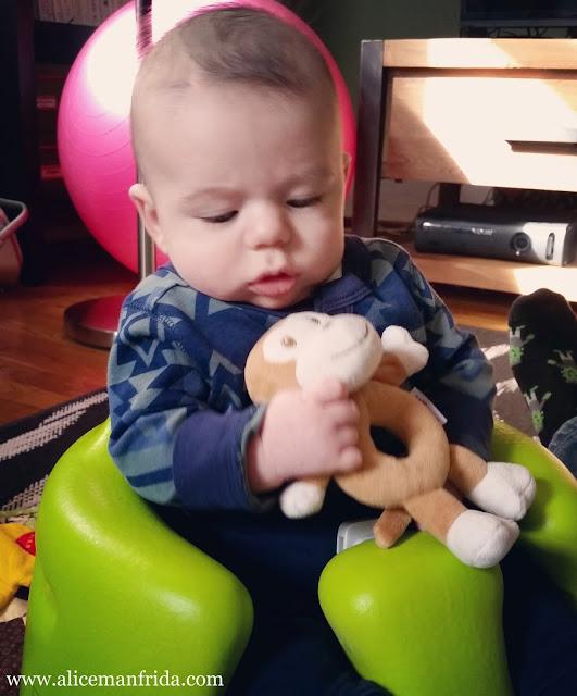 Three Months Postpartum, Mom, baby, baby boy, Bumbo, bumbo floor seat, sitting