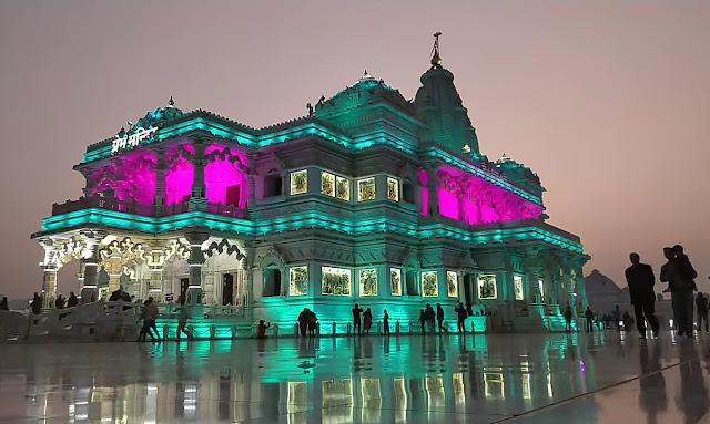 Prem Mandir Vrindavan changing light Night View picture