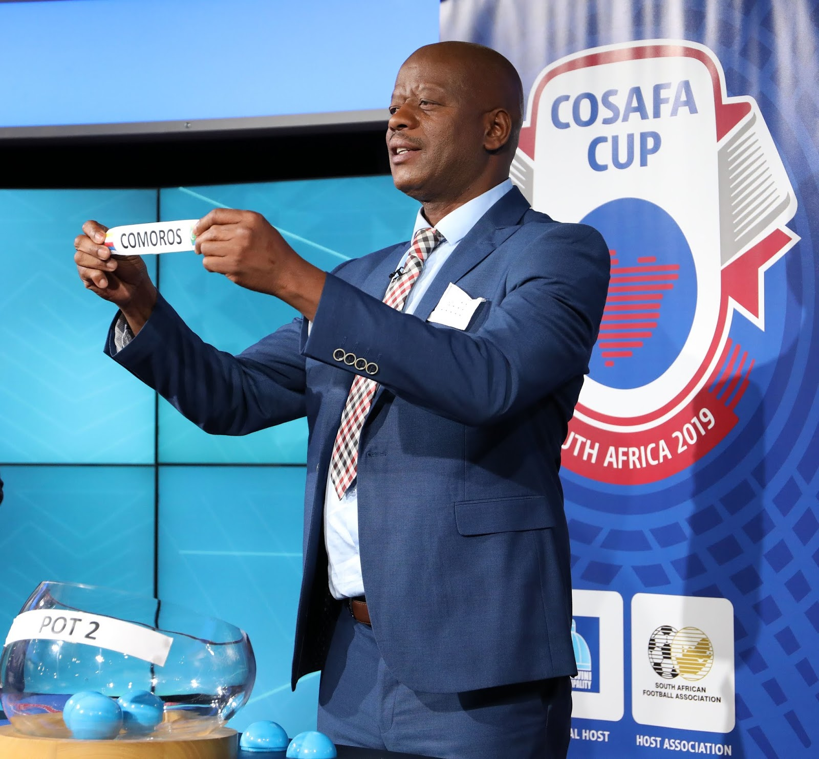 William Shongwe during the 2019 Cosafa Cup Draw at the SuperSport Studios, Johannesburg on the 02 May 2019 ©Muzi Ntombela/BackpagePix