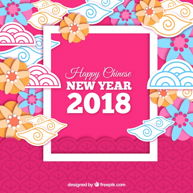 Paper chinese new year background Free Vector