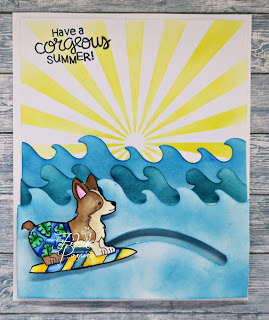 Have a corgeous summer by Fikreta features Corgi Beach by Newton's Nook Designs; #inkypaws, #newtonsnook, #cardmaking, #dogcards, #summercards