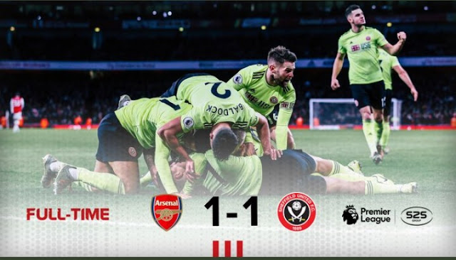 Arsenal 1-1 Sheffield United, Gunners Wasteful As They Throw Away Lead (Details, Photos & Highlight)