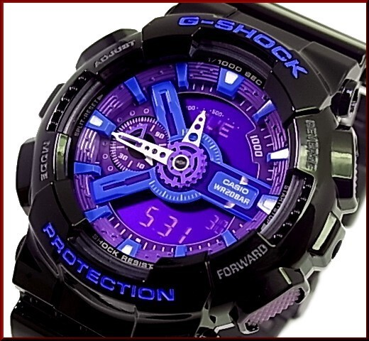 3a416bde900b Casio G-Shock GA-110HC-1A is a popular watch known for its black and hyper  blue watch face and straps. This watch is a shock resistant watch while  having ...