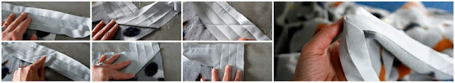 Step-by-step instructions for turning a corner when sewing binding to the edge of a dog blanket