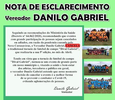Torneio Dival Gabriel está CANCELADO