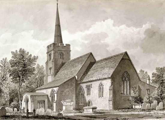 Two North Mymms men were transported to Australia  for stealing lead from the roof of the parish church  Sketch of St Mary's in the 1840s by Buckler from the Images of North Mymms collection  Courtesy of Hertfordshire Archives and Local Studies
